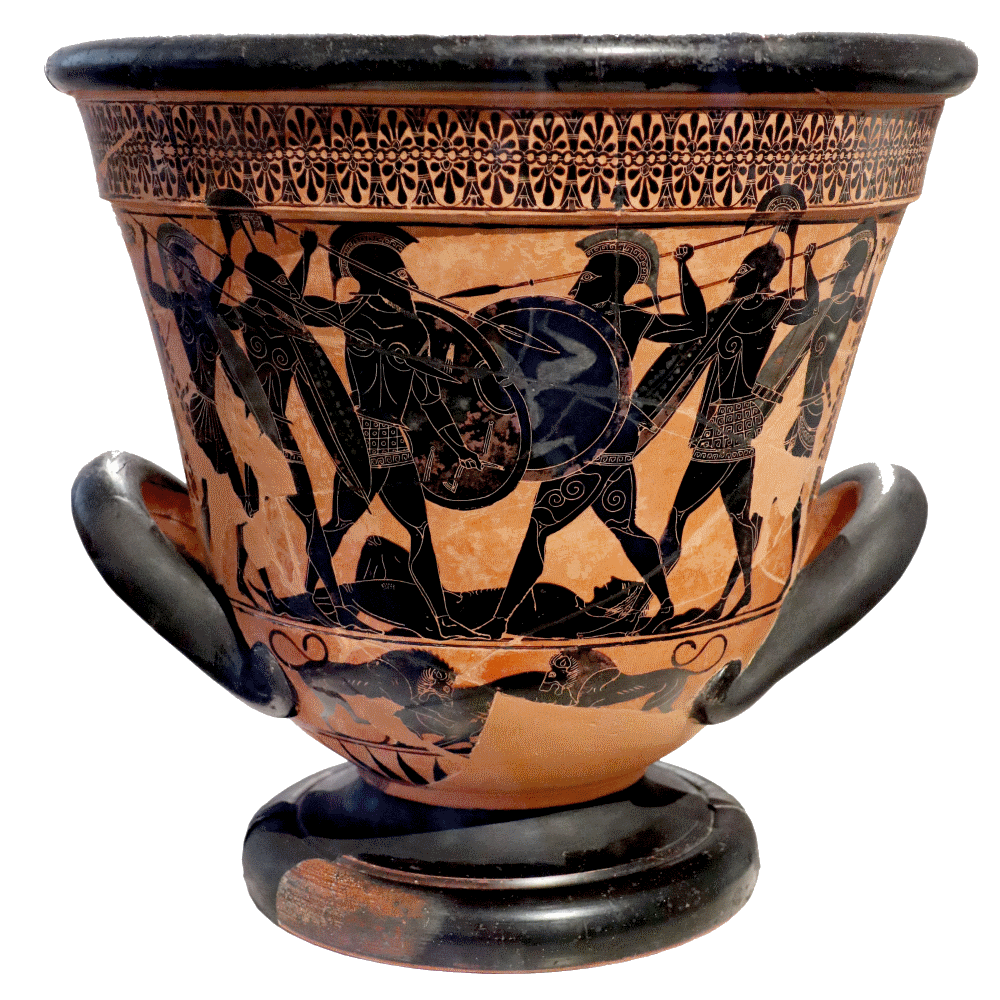 The Battle over Patroclus's Body on 6th Century BCE black-figure Attic pottery
