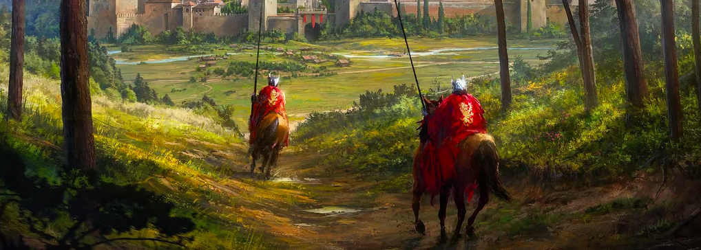 Knights of Seinis Ride Towards a Castle