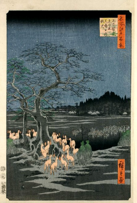Hiroshige's 100 views of edo - fox fires