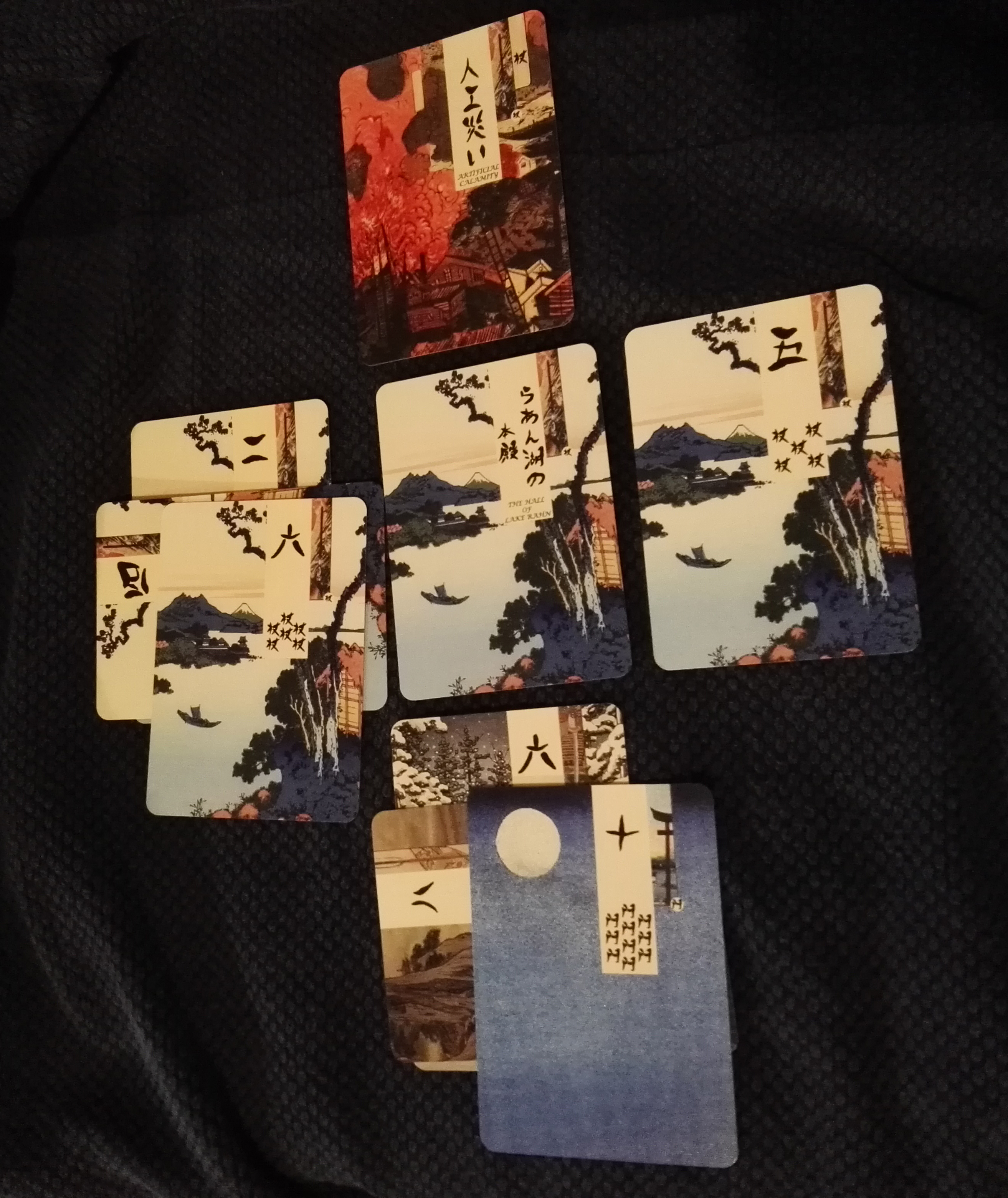 One Side of an Age of Heroes Game Field with a Classic, Ukiyo-e Style Age of Heroes Deck