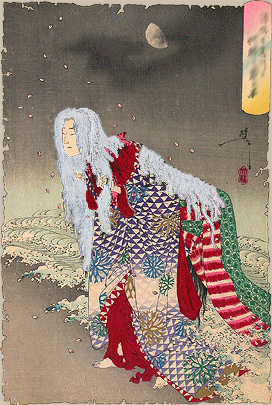 ukiyo-e of the fabled yasha Yoshitsune no Yôko.jpg