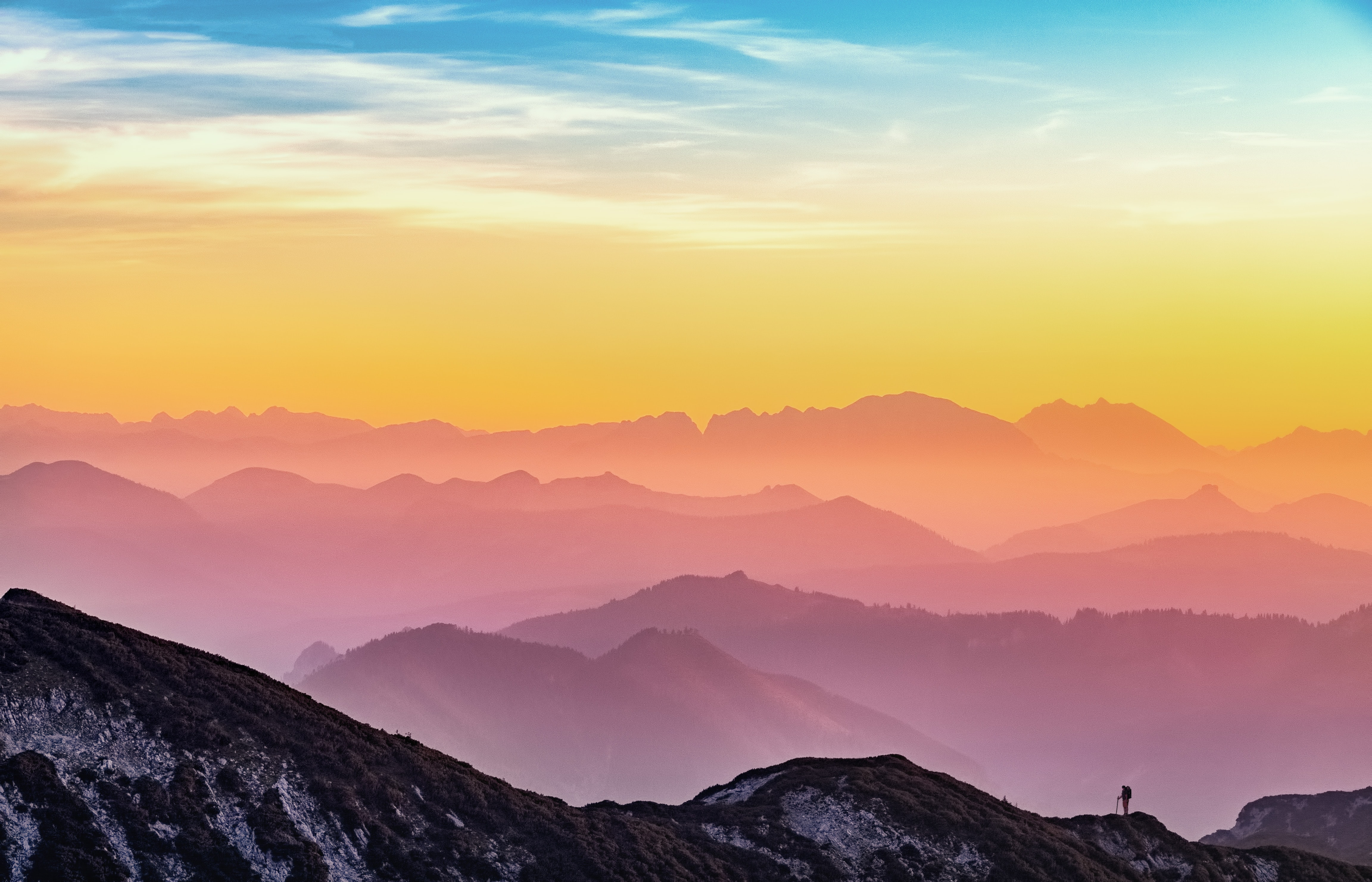 Colorful mountain tops in the sunrise