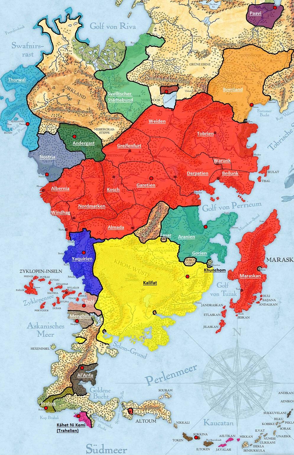 Dsa Karte.Karte Aventurien Politisch 1008bf Cover World Anvil