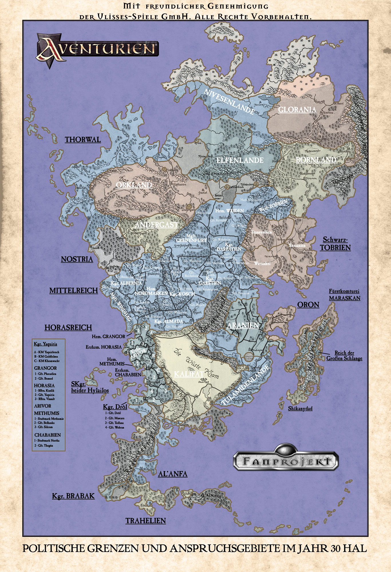 Politische Karte Aventuriens 30 Hal In Aventurien World Anvil